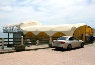 Тентовое покрытие. Гостиница «Санта-Барбара» пгт. Утёс Крым. Вид с набережной