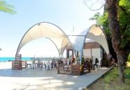 Тентовый навес над летним кафе «Хинкальная №1» панорамного ресторана «Чайка», г. Ялта, Крым